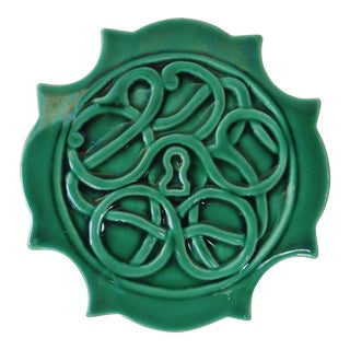 Green Majolica Trivet Wine Coaster