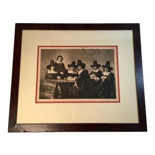 Antique Spanish Print in Burl Walnut Frame
