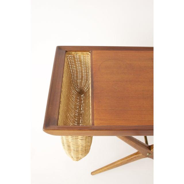 Teak Walnut MCM Side Table Woven Magazine Basket - Image 8 of 11