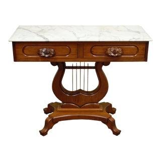 Vintage Victorian Mahogany Marble Top Console