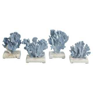 Curated Blue Coral Sculptures, Presented on Coquina Stone Bases