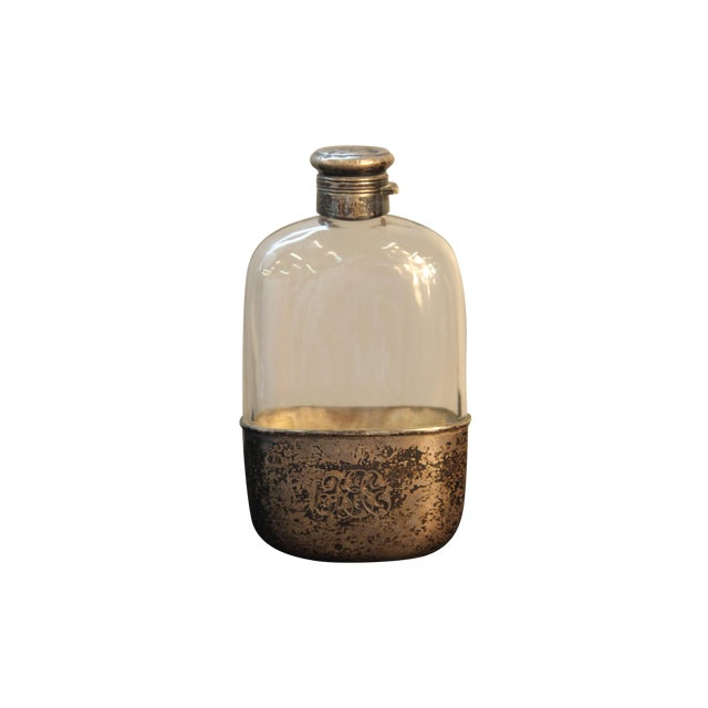 Image of Antique Sterling Silver and Glass Pint Flask