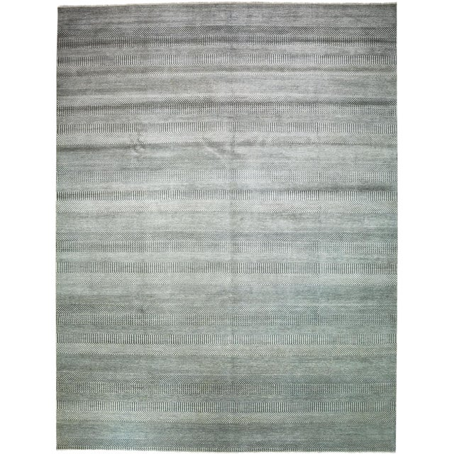 "New Tonal Stripe Hand Knotted Area Rug - 9'1"" x 12' - Image 1 of 3"
