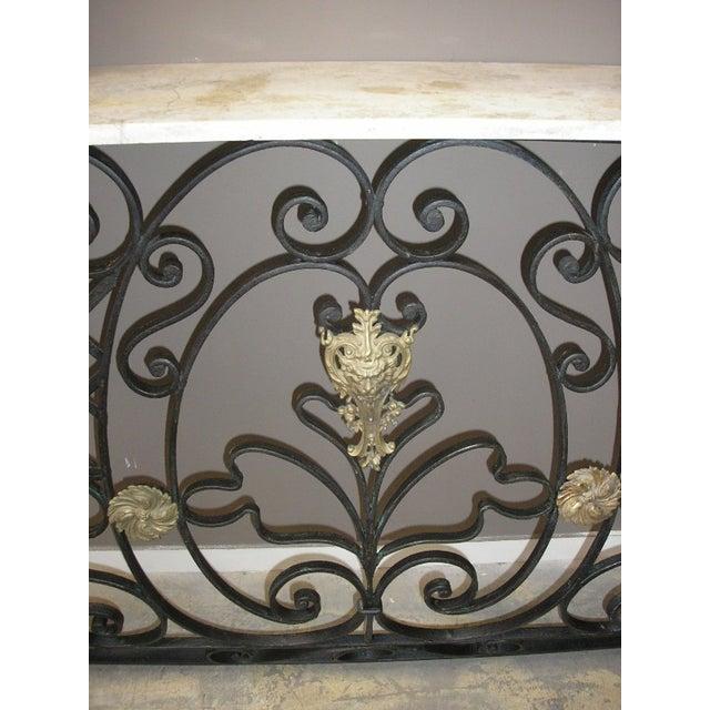 art nouveau stone top iron console table chairish. Black Bedroom Furniture Sets. Home Design Ideas