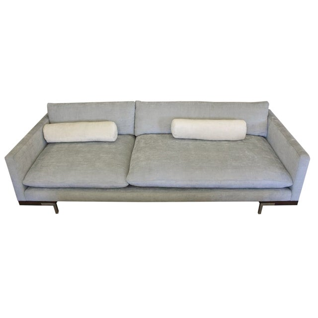 Image of Bonn Blue/Gray Brushed Cotton Sofa & Pillows