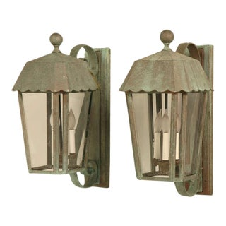 Pair of Vintage Faux Copper Wall Lanterns with Verdigris Patina