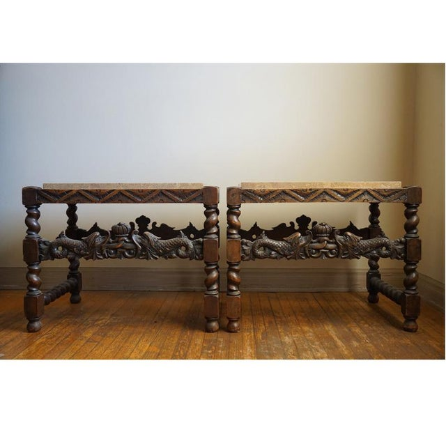 Pair 19th Century Jacobean End Tables - Image 2 of 10