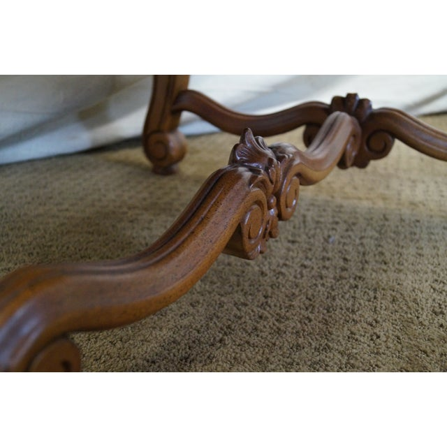 Quality Renaissance Style Carved Frame Arm Chair - Image 8 of 10
