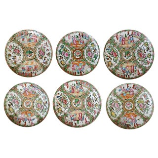 19th Century Rose Medallion Plates - Set of 6