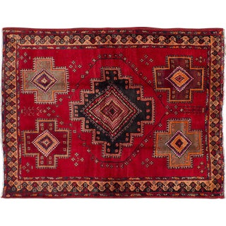 "1960's Persian Tribal Red & Navy Rug - 4'11"" X 6'6"""