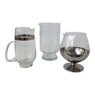 Assorted Glass & Silver Cocktail Mixers - Set of 3