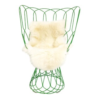 Patricia Urquiola Green Re-Trouve Highback Chair & Sheepskin