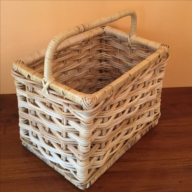 rectangular wicker basket with handle chairish. Black Bedroom Furniture Sets. Home Design Ideas