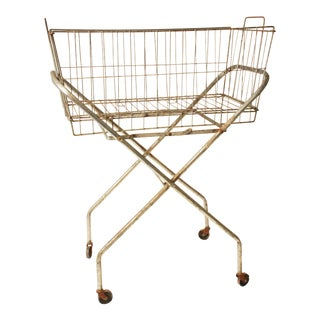 Vintage Steel Wire Basket with Original Rolling Stand