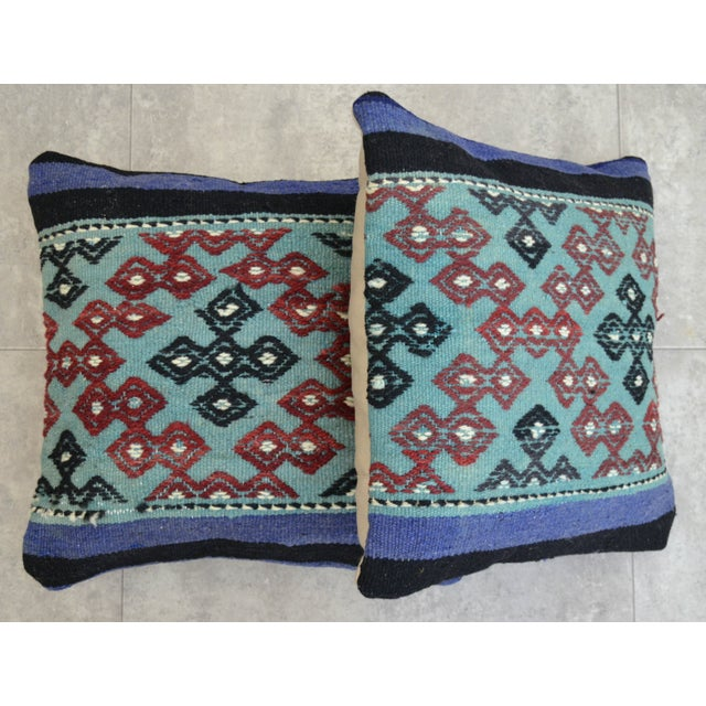 Hand-Woven Turkish Kilim Pillow Covers - A Pair - Image 4 of 7