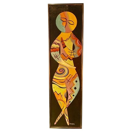 Colorful Abstract Figural Painting - Image 1 of 4