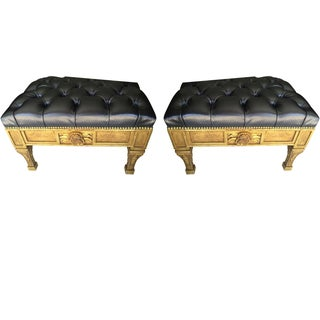 Gold Leaf Leather Benches - A Pair