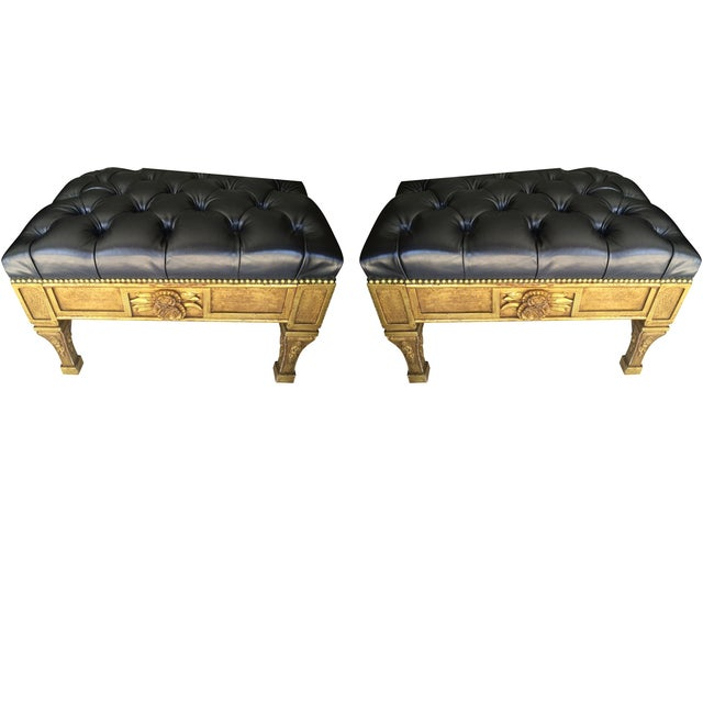 Gold Leaf Leather Benches - A Pair - Image 1 of 6