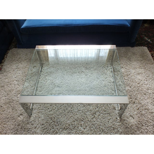 Mid-Century Modern Chrome & Glass Cocktail Table - Image 5 of 10