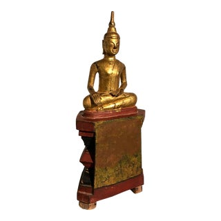 Shan Burmese Carved and Gilt Wood Buddha, 19th century