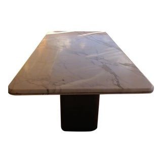 Wooden Base White Carrara Marble Table