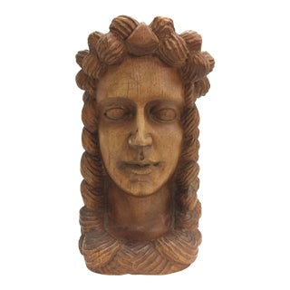19th Century Wood Carved Austrian Bust