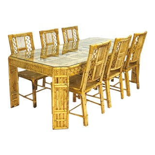 Chippendale Style Bamboo & Rattan Dining Set - Set of 7