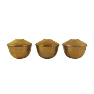 Trio of Handsome Lidded Brass Bowls