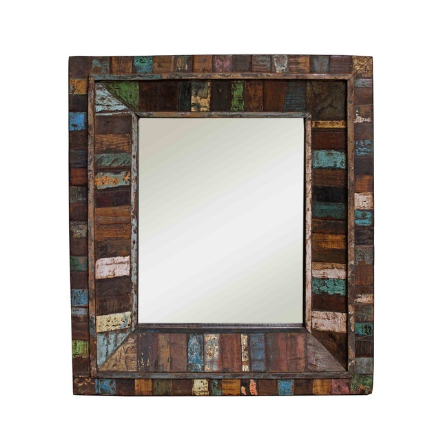 Reclaimed Painted Wood Square Mirror - Image 1 of 3