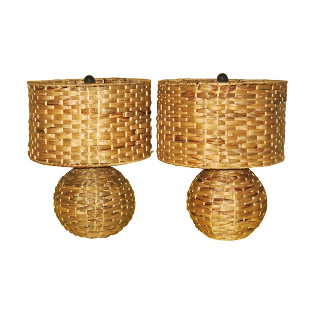 Image of Wicker Table Lamps - A Pair
