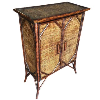 Tiger Bamboo Cabinet with Rice Mat Covering