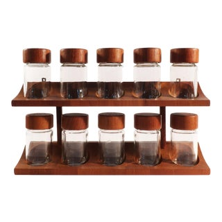 Digsmed Danish Modern Teak Spice Rack & Containers - Set of 11