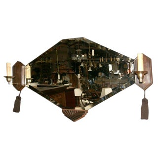 Art Deco Wall Mirror with Sconces