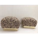 Image of 1980s Karl Springer Zebra Print Ottomans - A Pair