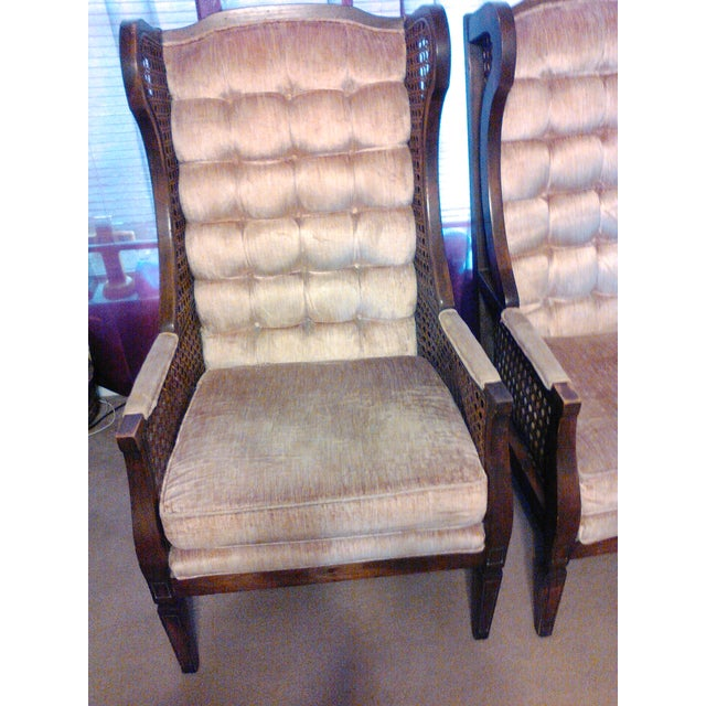 Image of Lewittes High Wingback Chairs, Cane Sides - Pair