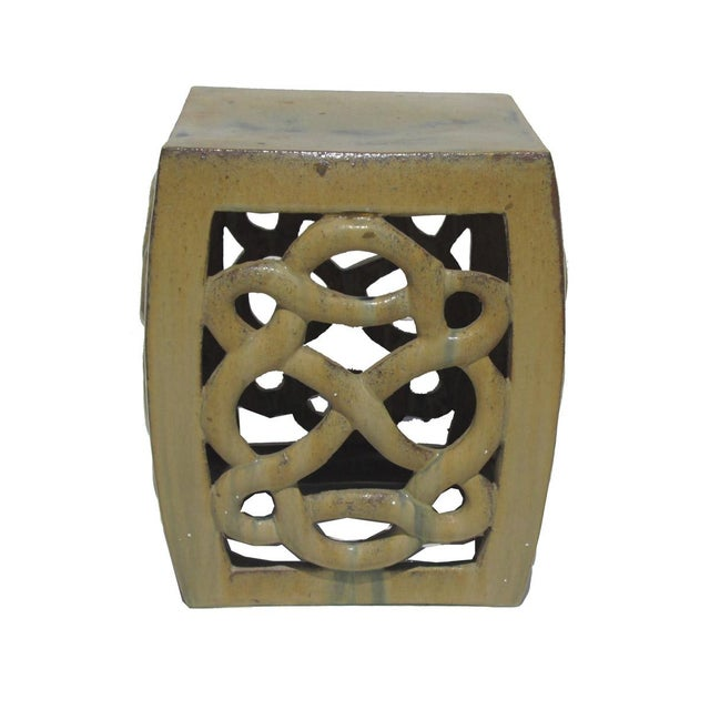 Image of Cream Yellow Ceramic Clay Twist Knot Square Stool Ottoman