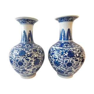 Onion-Shaped Blue & White Vases - A Pair