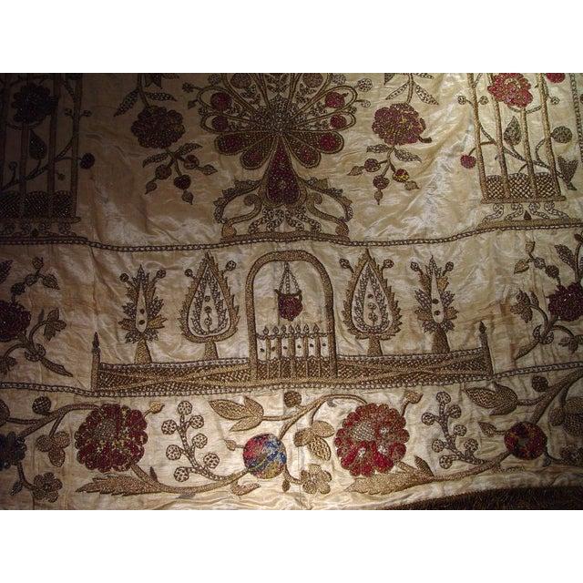Large Ottoman Large Silkwork Textile Botanical Embroidery Hanging - Image 9 of 9