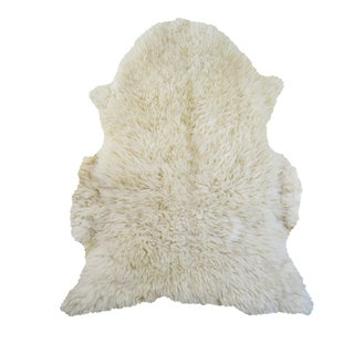 Vintage Authentic Sheepskin Wool Rug - 2′8″ × 4′