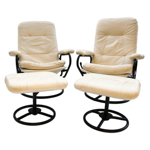 Pair Ekornes Reclining Chairs Ottomans Chairish
