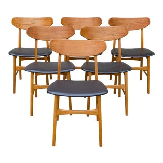 Mid Century Danish Teak Dining Chairs - Set of 6
