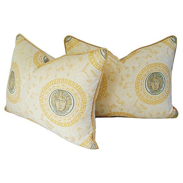 Custom Italian Versace-Style Medusa Pillows - Pair - Image 7 of 9