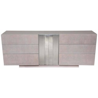 1970s Grey-Washed Oak Dresser with Textured Aluminum Door