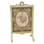 Image of Floral Needlepoint Fire Screen