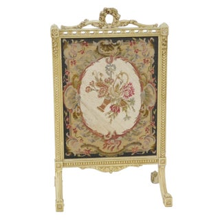 Floral Needlepoint Fire Screen