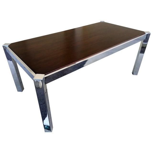 Milo Baughman DIA Wood & Chrome Dining Table - Image 1 of 8