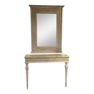 Neoclassical Italian Console Table & Mirror - A Pair