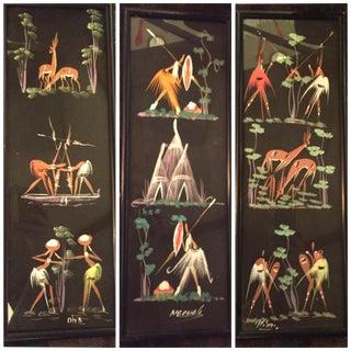 Mid-Century Belgian Congo Tribal Art Triptych