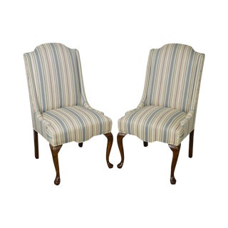 Pennsylvania House Cherry Wood Upholstered Queen Anne Style Host Chairs