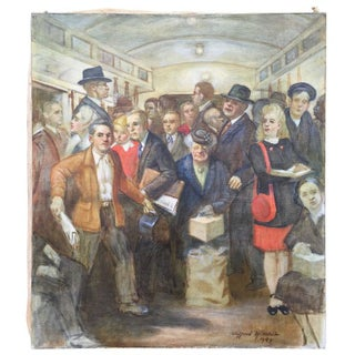 """""""Subway"""" 1947 Painting by Clifford H. Schule"""